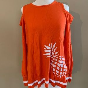 orange pineapple cold shoulder sweater